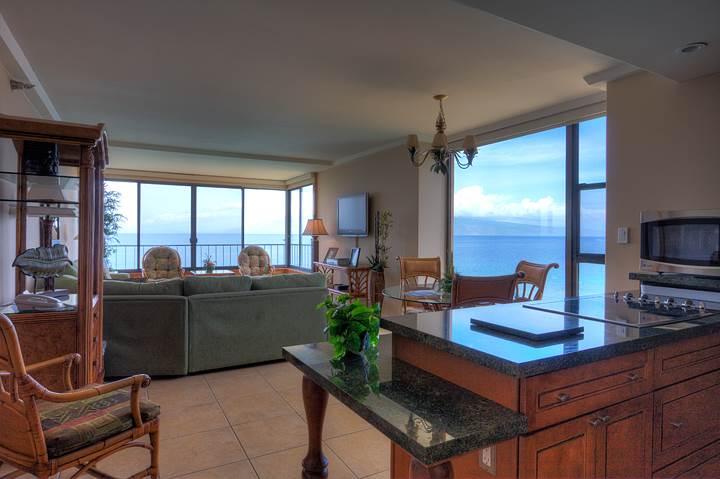 Partial kitchen & living area