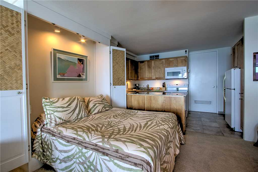 Murphy bed and kitchen area
