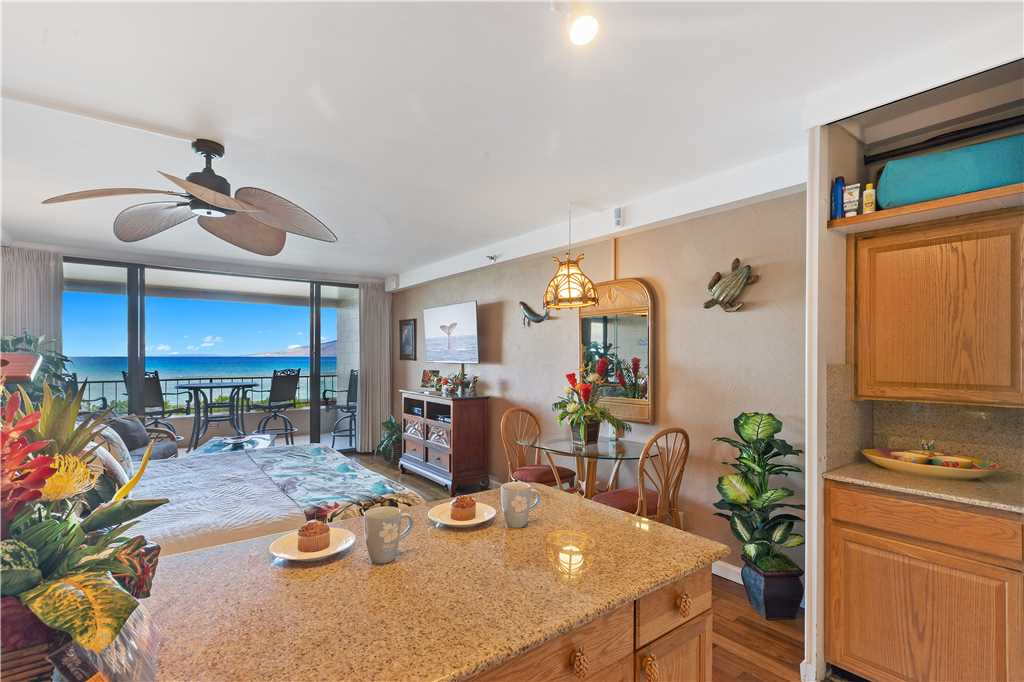 Kitchen counter, living area & lanai